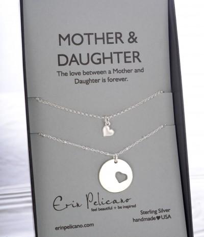 mom daughter necklace set, new mom jewelry, mom heart jewelry, baptism jewelry
