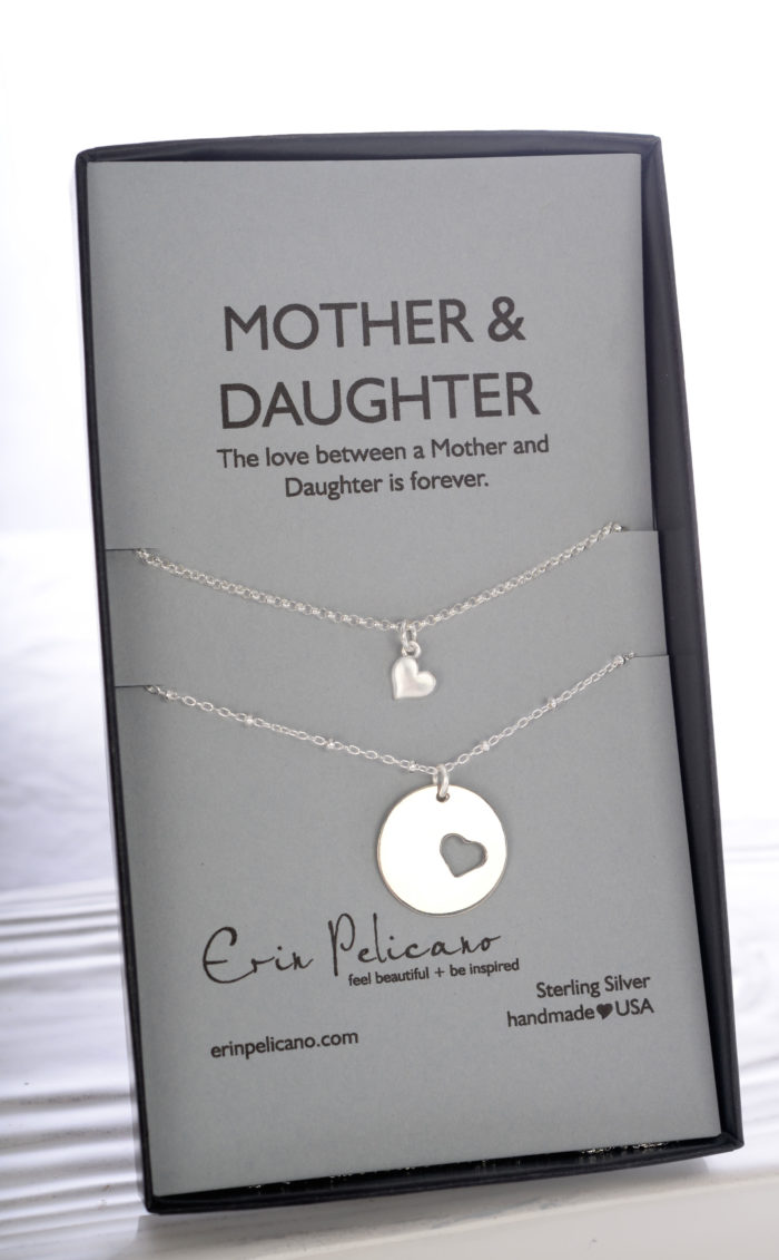 mom daughter necklace set, new mom jewelry, mom heart jewelry, baptism jewelry