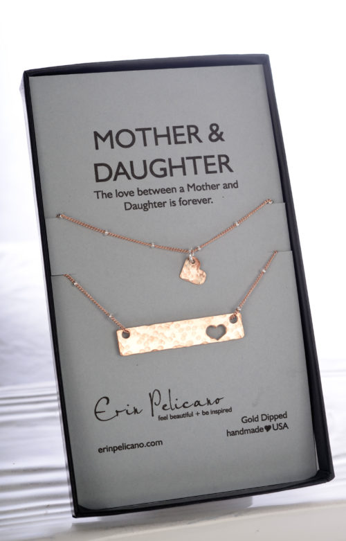 Mom Daughter Bar Necklace Set, Mother of the Bride Gift, Rose Gold Mom Jewelry