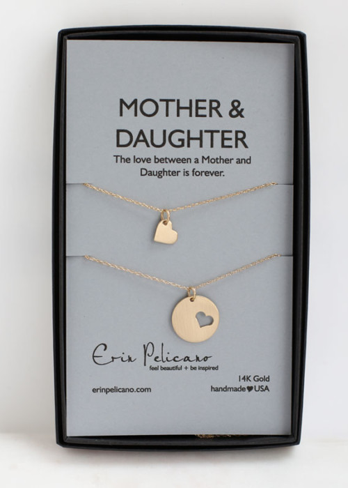 14k fine jewelry Mom Necklace Daughter Necklace