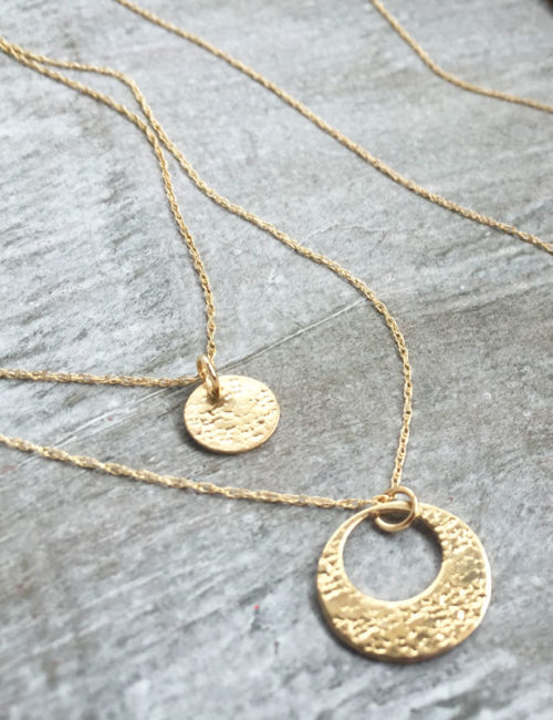 Mom Daughter 14k gold necklace set circles