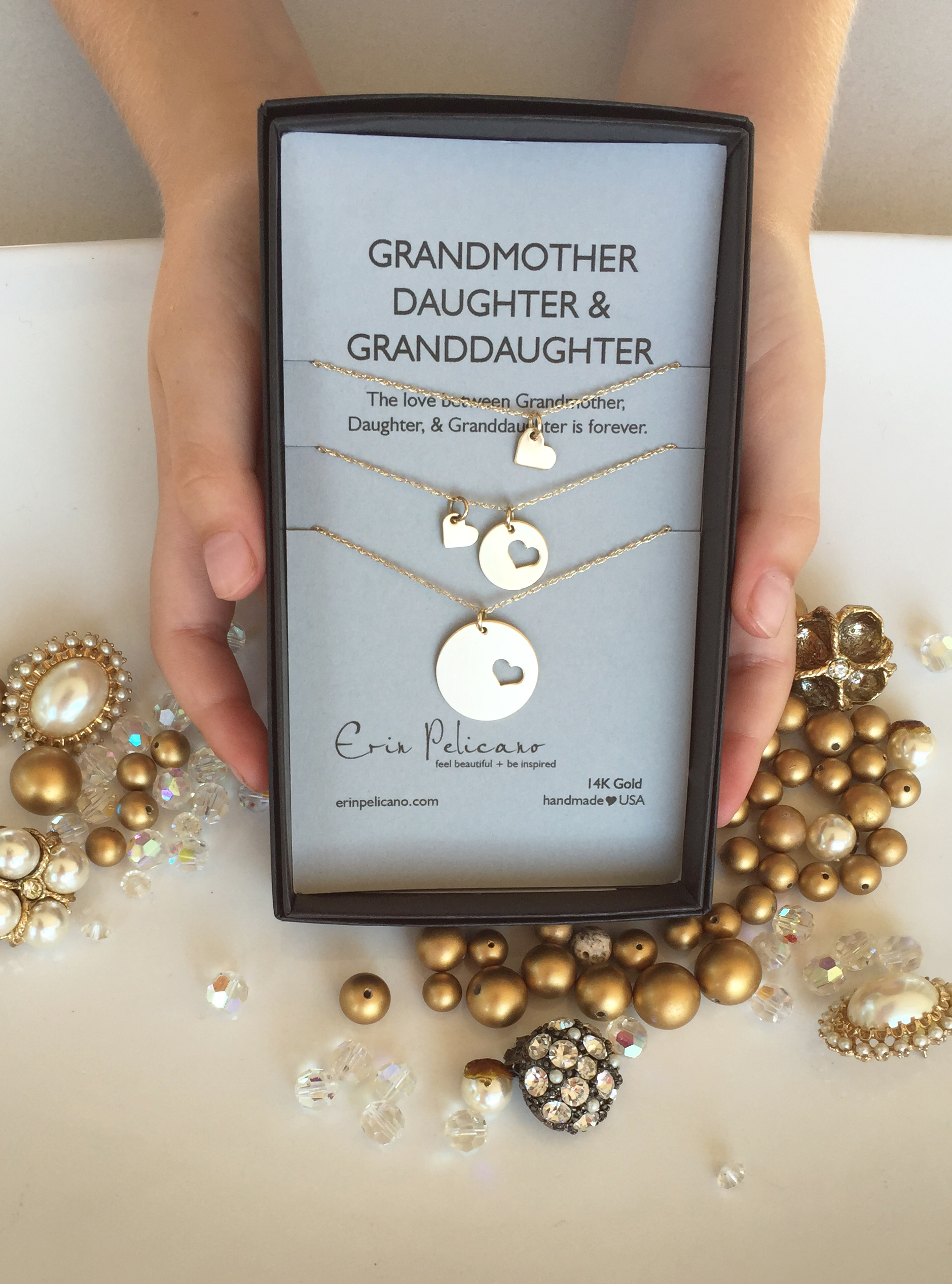 14k Gold Grandmother Daughter Necklace Set | Erin Pelicano
