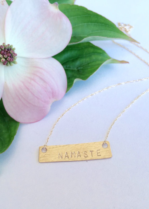 Gold Bar Mantra Necklace, 14k gold bar jewelry, mantra jewelry