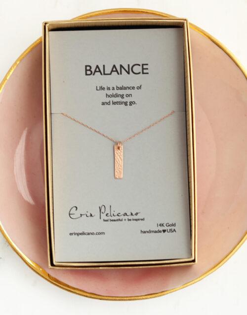 gold balance bar jewelry, balance necklace, retirement gift