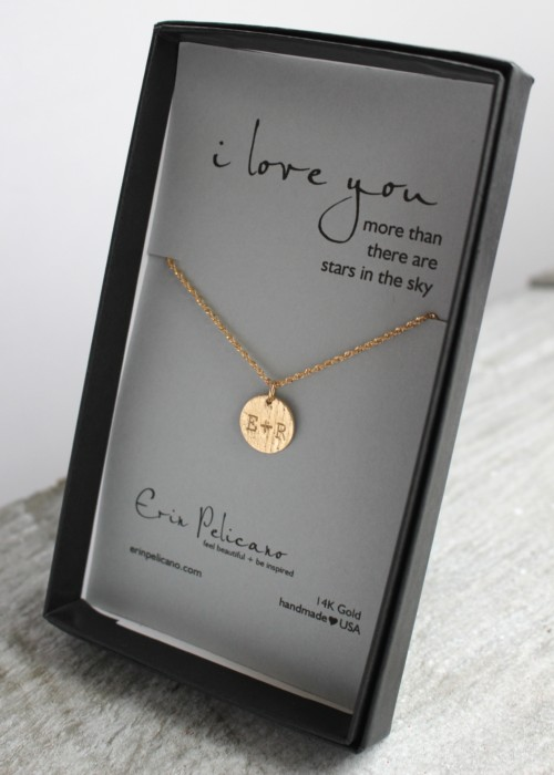 Gold Personalized Love Necklace, anniversary gift for her, bride gift
