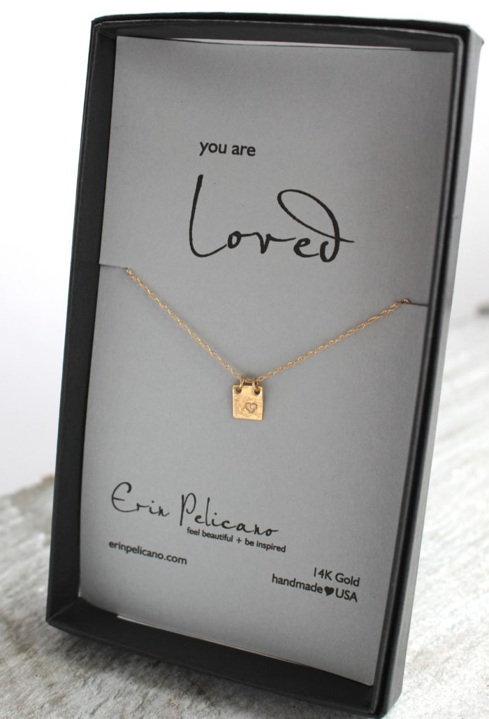 Gold Heart Initial Tag Necklace, gold tiny tag jewelry