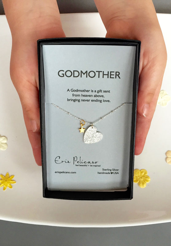 Godmother necklace, Godmother Gift, Heart Jewelry