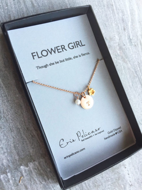 flower girl initial necklace, girls initial jewelry, flower necklace