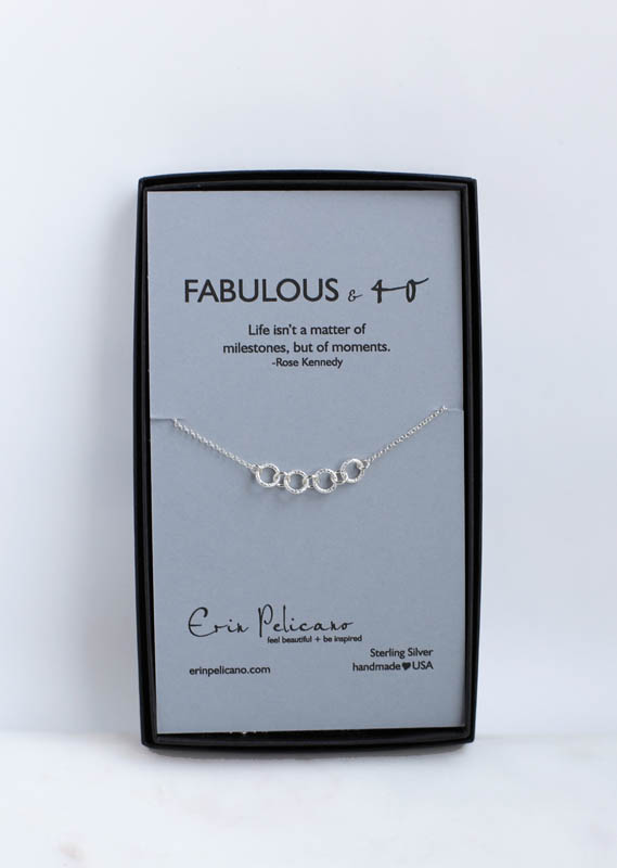 40th birthday gift for her, silver fabulous and 40 necklace