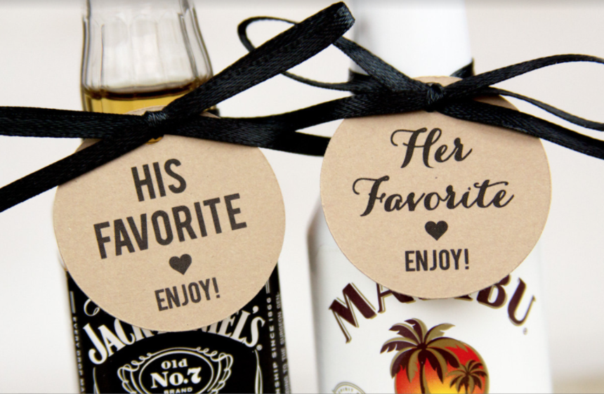 Unique wedding favor ideas guest will use erin pelicano jewelry custom alcohol tags for wedding favors junglespirit Gallery