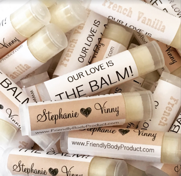 Unique wedding favor ideas guest will use erin pelicano jewelry custom wedding favor chapstick lip balm junglespirit Gallery