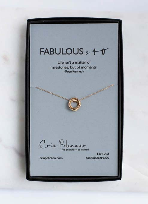 40th birthday necklace 14k gold