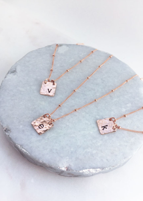 Rose Gold initial tag necklace