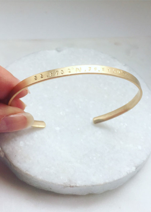 Personalized 14k gold Cuff bracelet