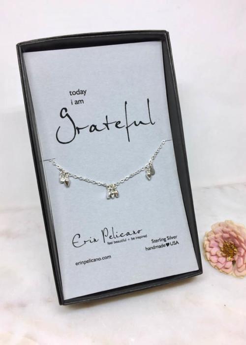 Gratitude Jewelry Silver Bridesmaid necklace gift