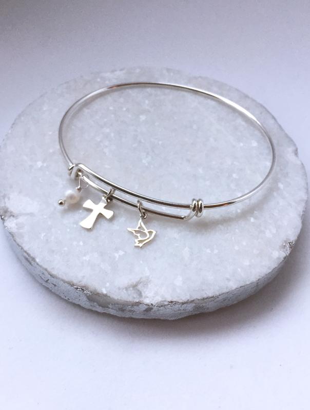 Faith Bangle Bracelet, Cross Bracelet, Cross Jewelry