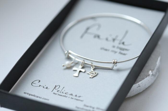 Cross Bangle Bracelet, Trinity Jewelry