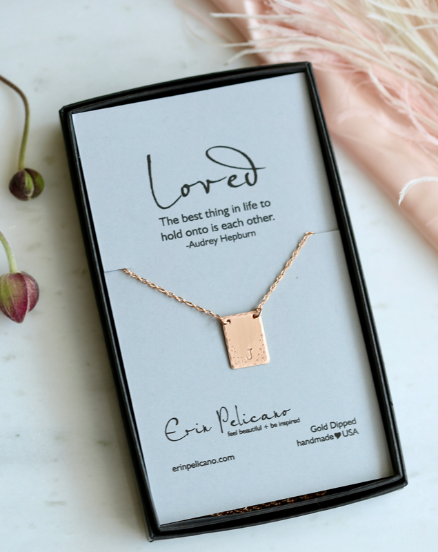 Rose Gold Initial Necklace, Tiny Tag Necklace, Love Jewelry, Initial Necklace