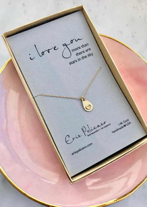 Love Heart Gold Necklace Anniversary Gift
