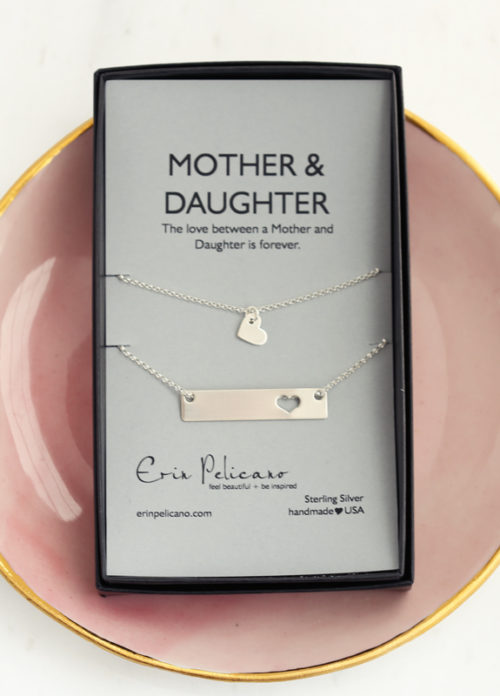 mom daughter bar necklace set, mother daughter jewelry