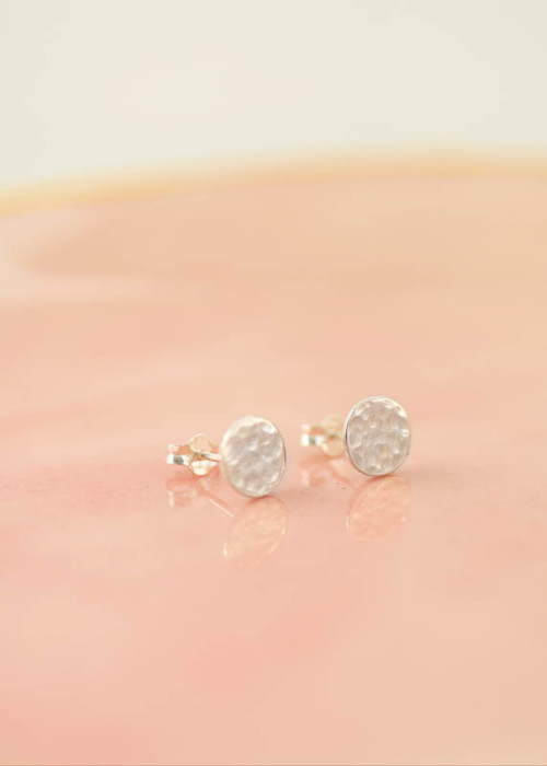silver studs, hammered silver earrings