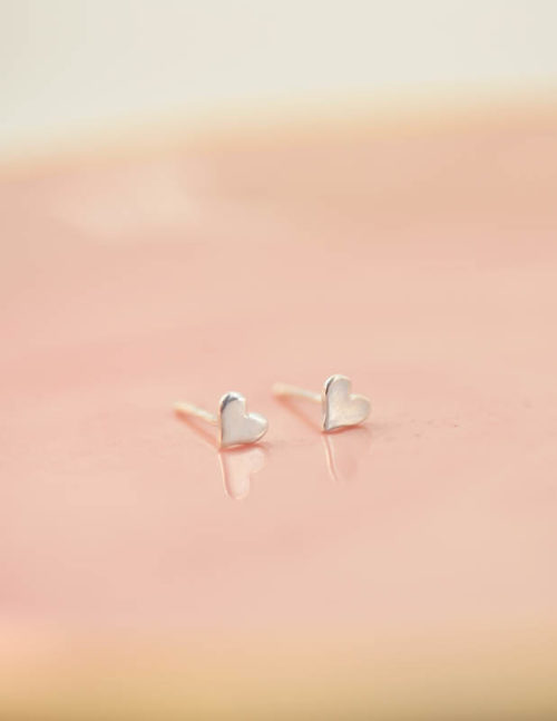 heart stud earrings, silver heart studs