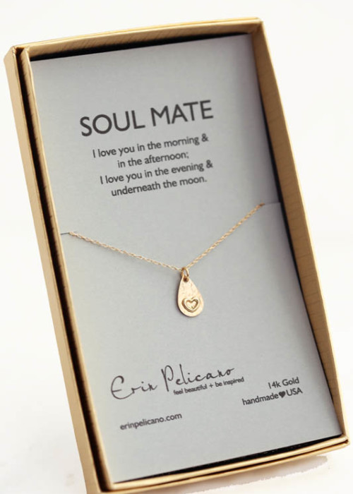 wife jewelry, soul mate necklace, anniversary gift, fine gold love jewelry