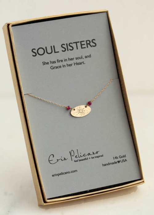 soul sister jewelry, gold sister necklace, gold friendship jewelry, gold and ruby