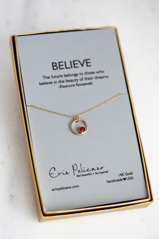 Believe necklace, gold daughter jewelry
