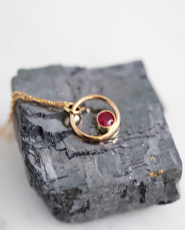 gold ruby necklace, graduation gift