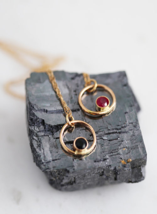 Gold Ruby Gold Sapphire believe necklace, graduation gift