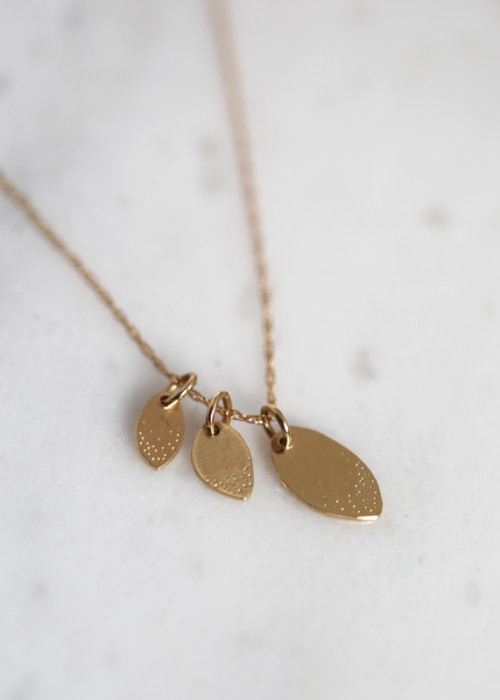 gold family tree necklace, 14k gold leaf necklace