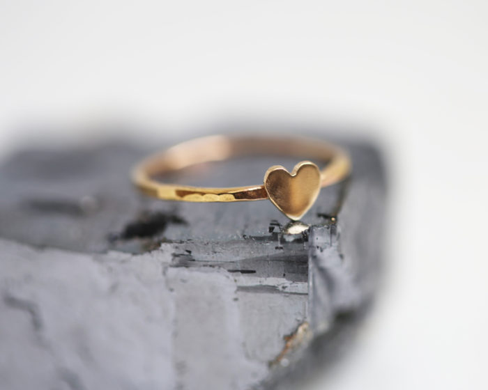 stacking heart ring, gold heart jewelry