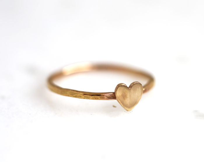 love heart ring, gold heart stacking ring
