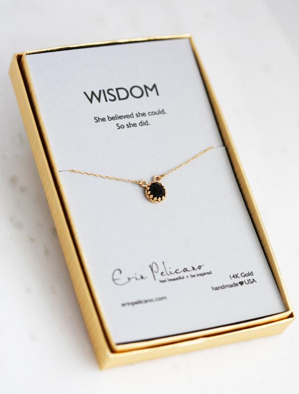Onyx 14k gold wisdom jewelry, strength jewelry