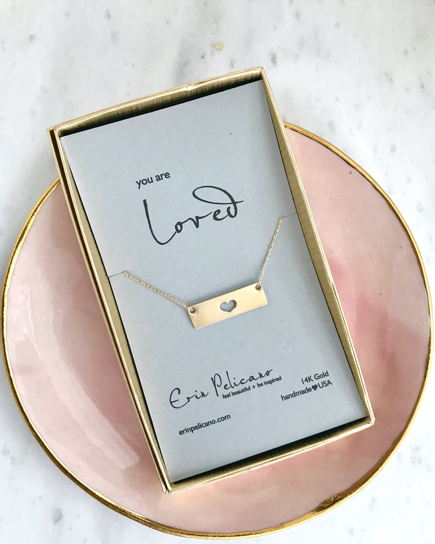 gold bar necklace, gold heart necklace