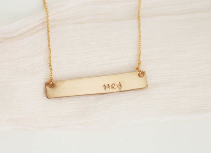 Gold bar necklace for bride