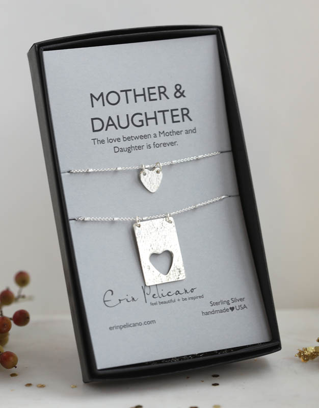 Mom Daughter Hearts, Dog Tag Necklace