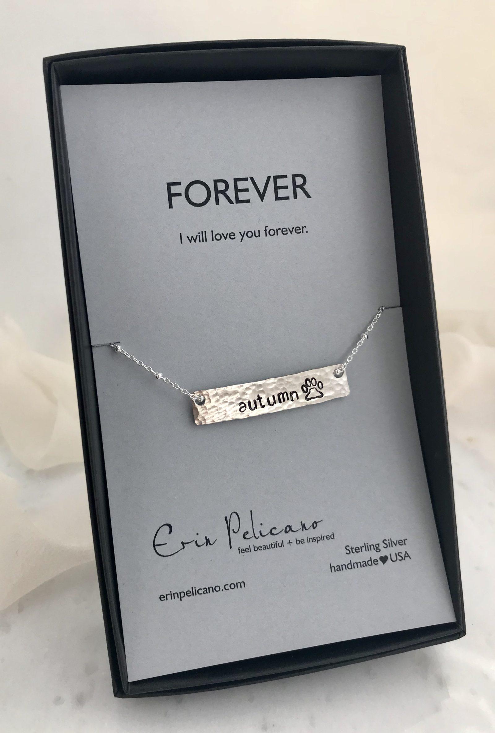 pet name jewelry, pet memorial jewelry