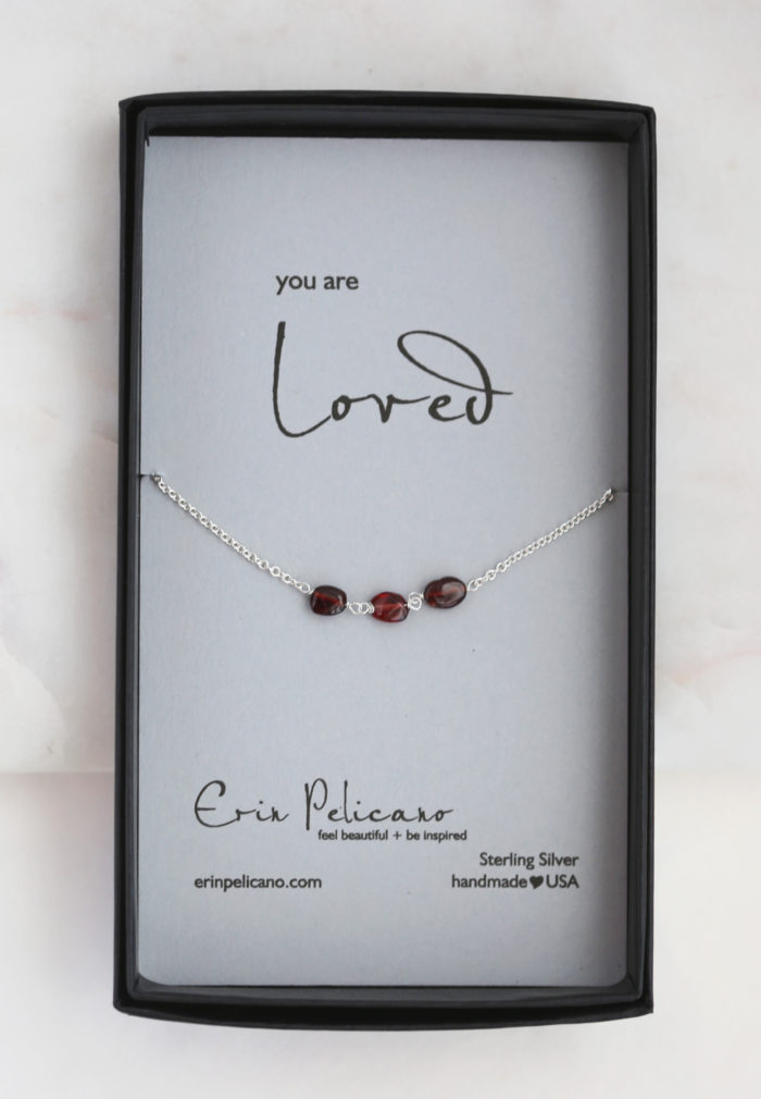 garnet gemstone necklace, bridesmaid necklace