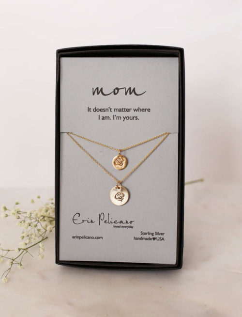 Gold Rose Necklace, Mom jewelry