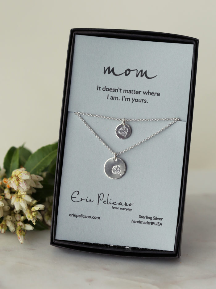 rose necklace, mother daughter necklace