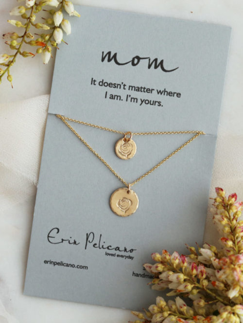 Mother Daughter Necklace Gold Rose Jewelry
