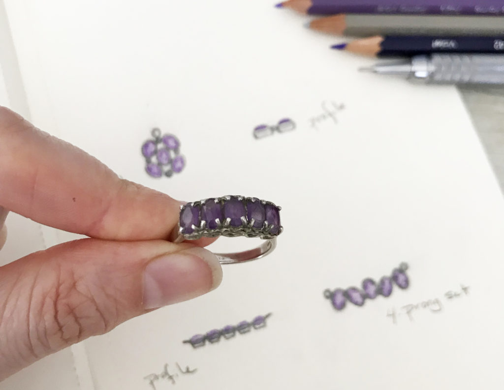 heirloom redesign, sketch, custom jewelry