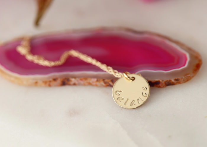 14k gold balance necklace