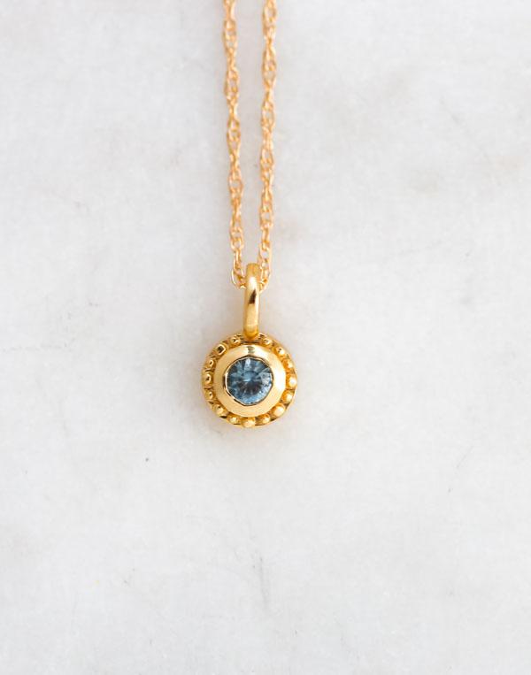 gold montana sapphire necklace, sunstone necklace