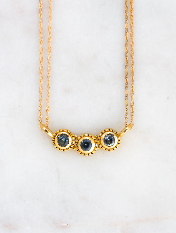 sapphire necklace, sunstone jewelry