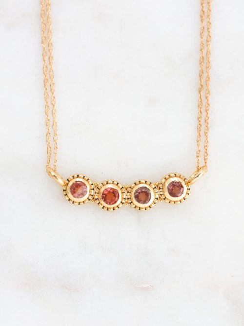 sunstone gold necklace, sapphire necklace