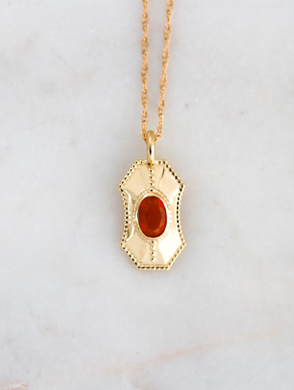 fire opal gold necklace, hope jewelry, gift for her
