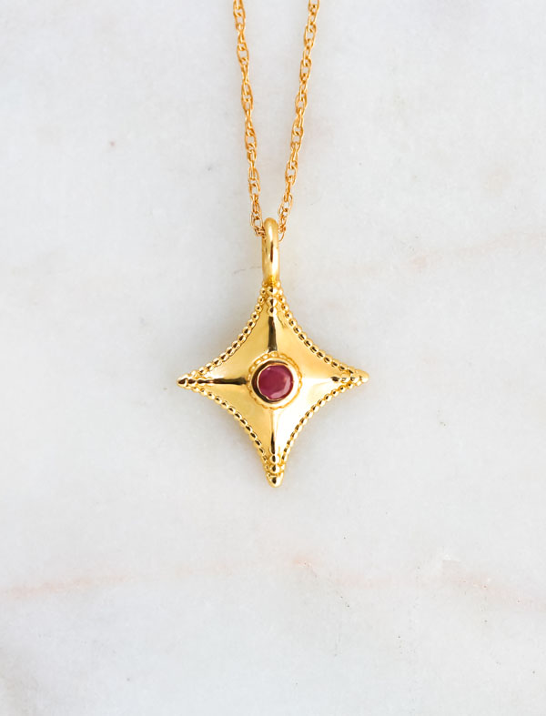 ruby gold necklace, retirement gift, passion jewelry